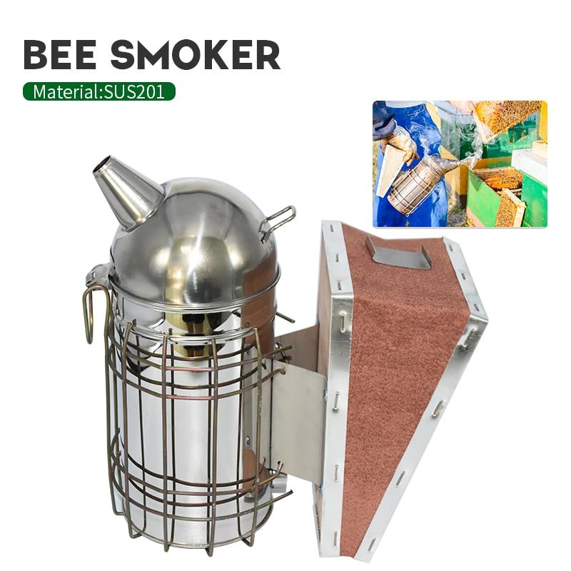 Apicultura Manual de acero inoxidable abeja humo transmisor Kit de apicultura herramienta apicultura cuidado de abejas herramienta abeja fumador