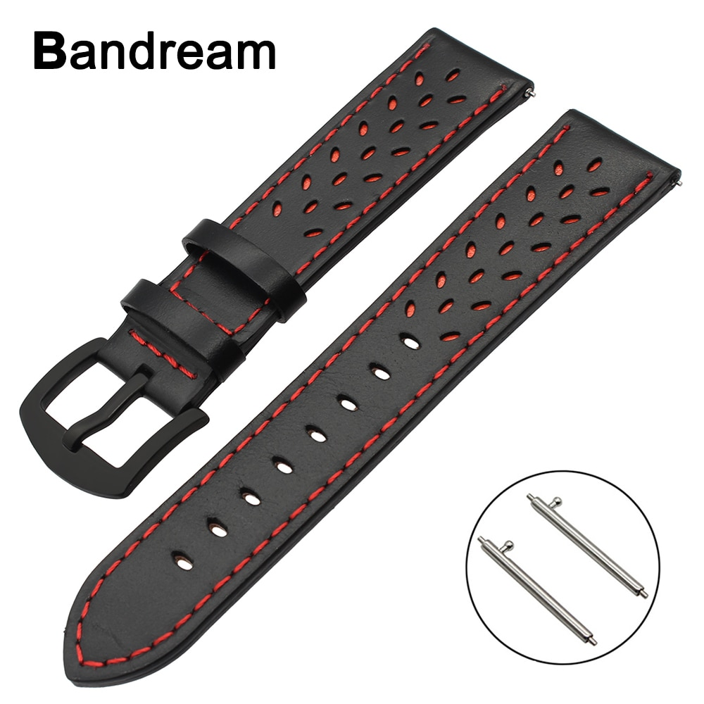 20mm 22mm Trefoil Echtem Leder Armband für Luminox Tissot Hamilton Mido Longines Quick Release Uhr Band Stahl Verschluss strap