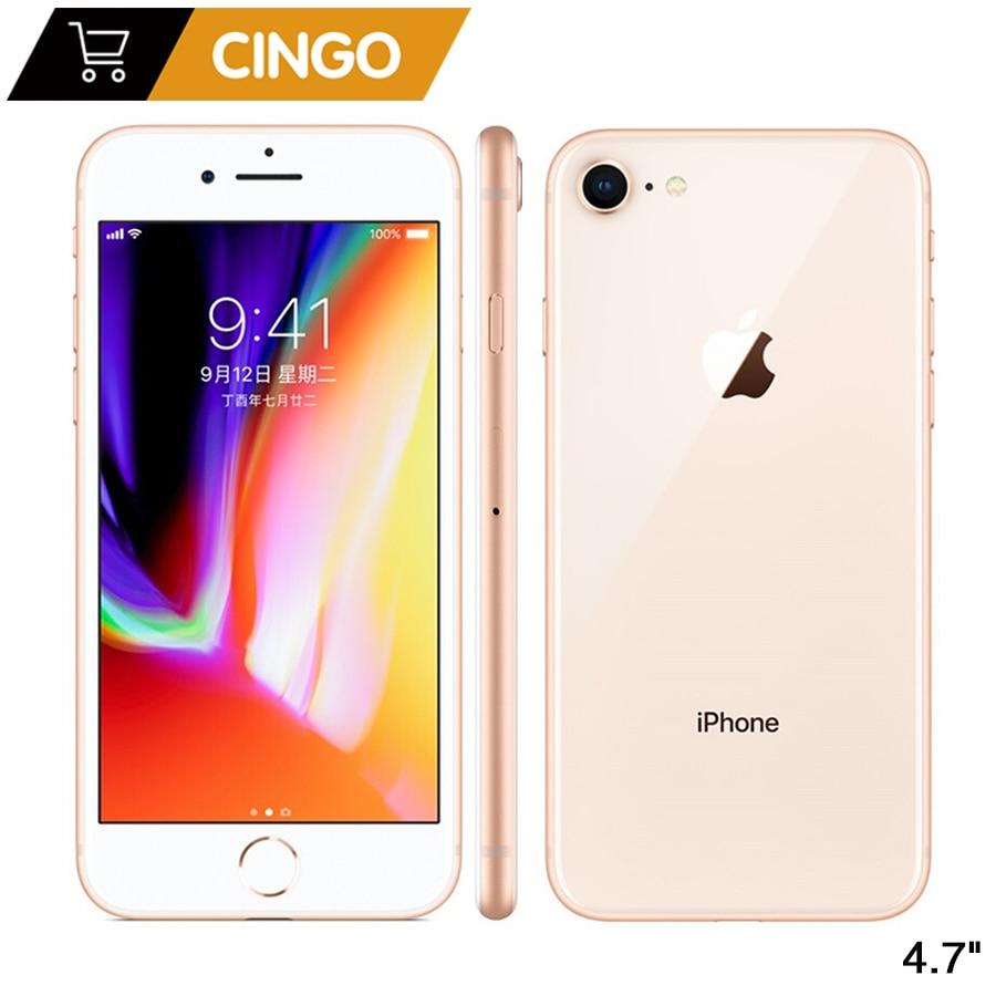 هاتف Apple iPhone 8 iphone8 الأصلي بذاكرة وصول عشوائي 2 جيجابايت وذاكرة داخلية 64 جيجابايت/256 جيجابايت ومعالج سداسي النواة ونظام تشغيل IOS ثلاثي الأبعاد م...