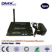 DHL/Fedex Free shipping 3PCS Wireless DMX Receiver And Wireless DMX Transmitter LED Lighting Wireless DMX Controller box