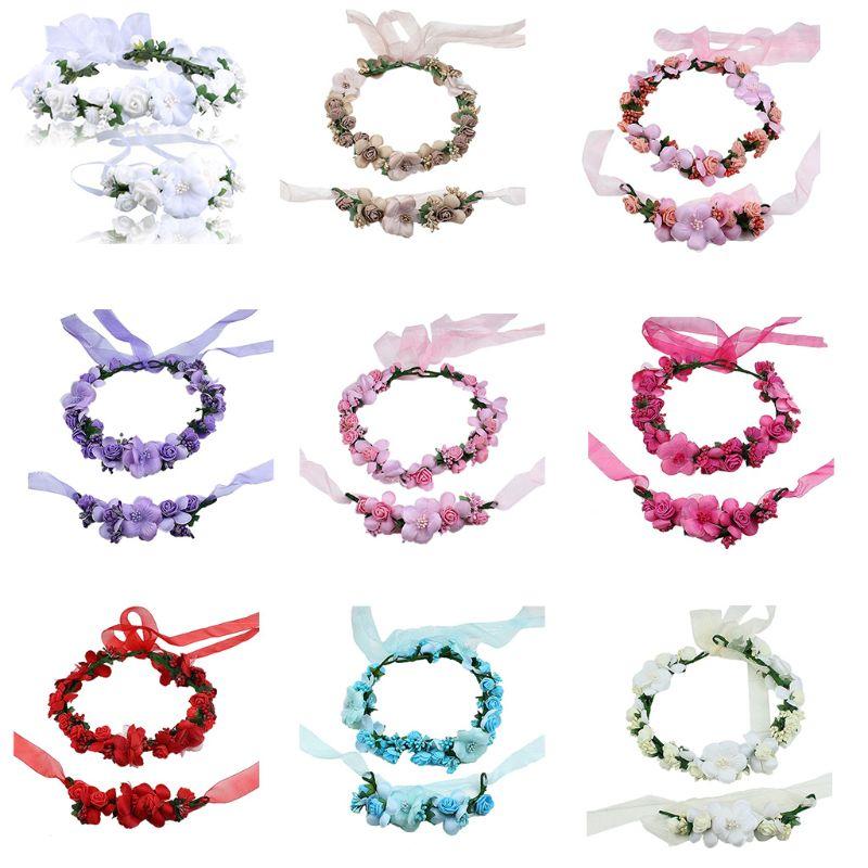 Women Kids Candy Color Artificial Flower Crown Headband Wristband Set Wreath Garland Wrist Corsage Bridal Wedding Accessorie