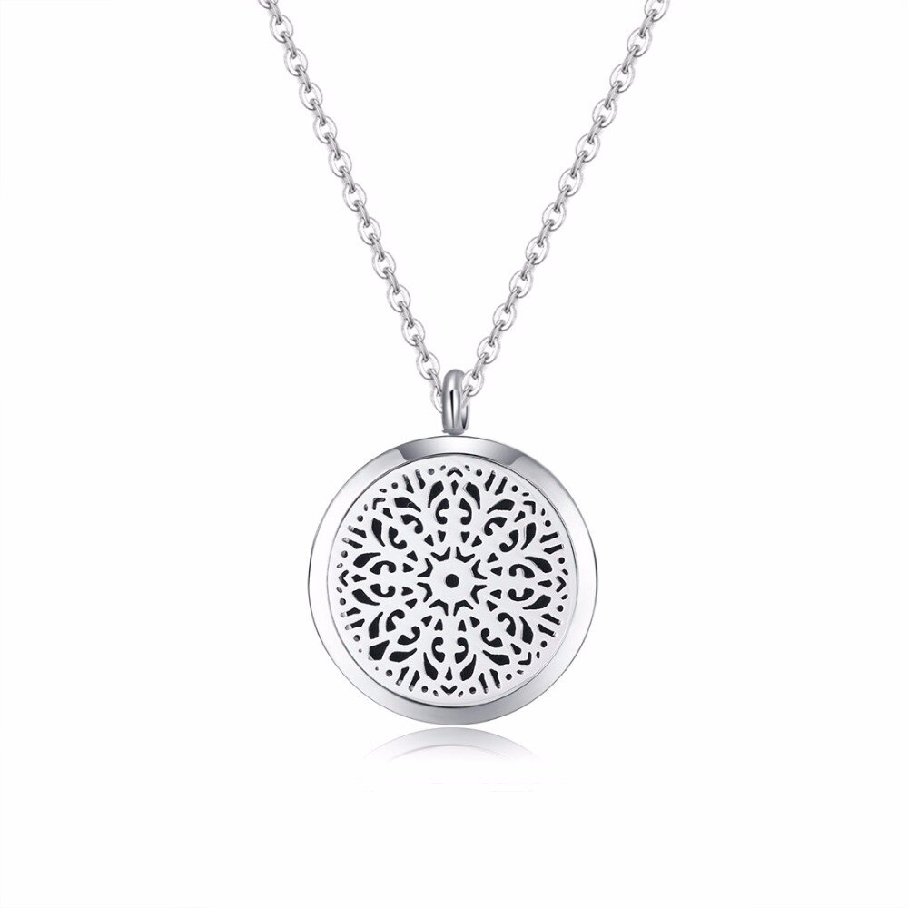 10 piezas abstracto Flores (25mm) aromaterapia aceites esenciales quirúrgico 316L S collar de medallón difusor de Perfume de acero