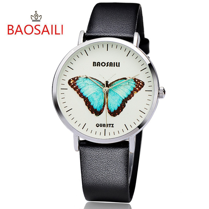 New Design BAOSAILI Blue Butterfly Desig Animals Watch Simple Ladies Watches Women Analog Quartz Clock Relojes Para Mujer
