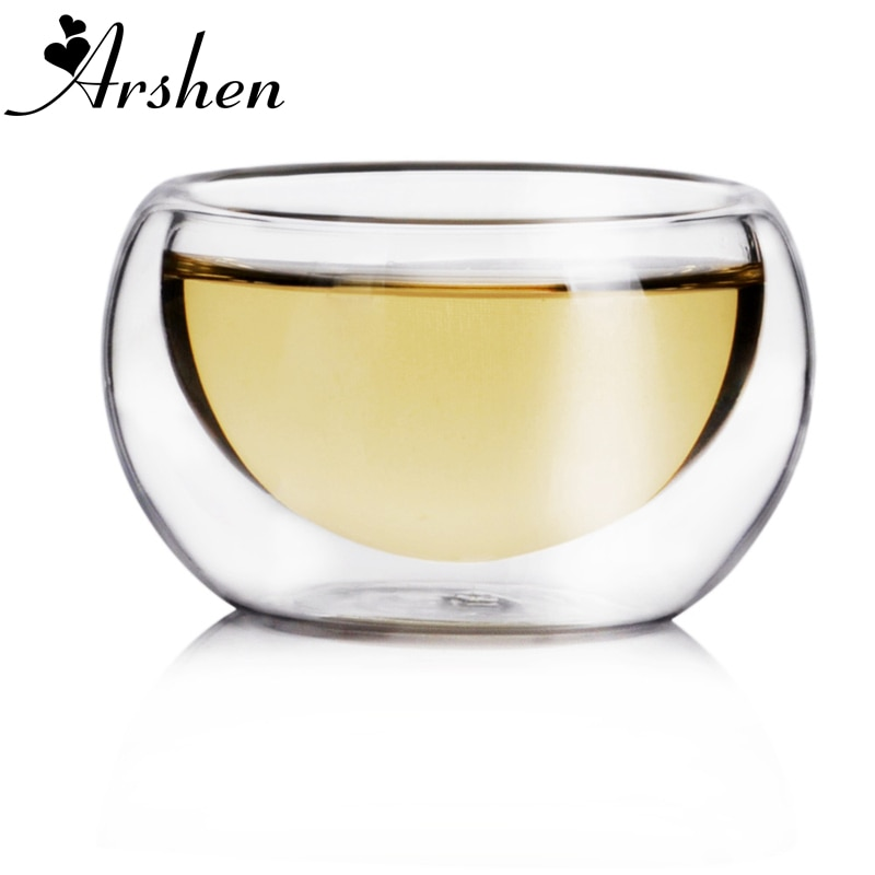 Arshen גדול קידום! 50ML אלגנטי ברור שתיית כוס עמיד בחום כפול קיר שכבה תה כוס מים כוס פרח תה כוסות