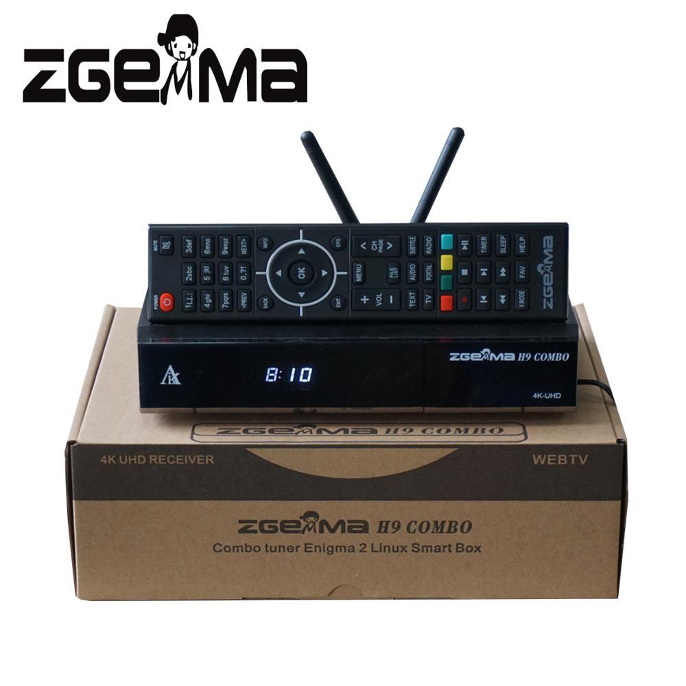 2 unids/lote ZGEMMA H9 Combo con CI + DVB-S2X + DVB-T2/C Dual WIFI Enigma2 Linux 4K Ultra HD 2160p Combo receptor de TV por satélite