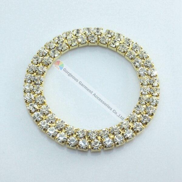 10 piezas 50mm redondo de doble fila de cristal de anillo de diamante de imitación transparente checo hebilla de deslizamiento de oro conjunto de plata DIY traje de baño accesorios