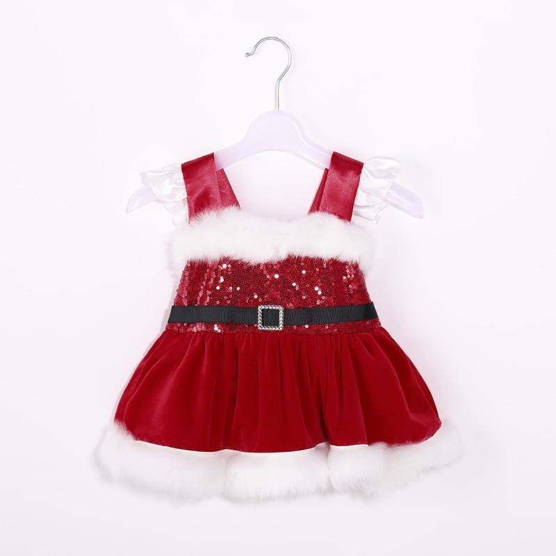 Newborn Baby Girls Red Velvet Tutu Romper Dress Christmas Party Princess Formal Dresses Girls Baby Winter Autumn Clothes 0-24M