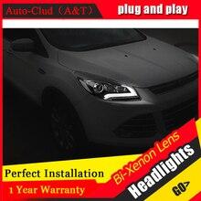Phares Auto Clud 2013 pour ford kuga   Phares 2015-au xénon H7 pour ford kuga, lentille de voiture, barre de guidage DRL bi xénon