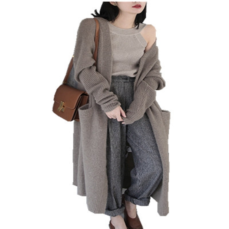 2020 Cardigans Top V-neck Casual Spandex Cardigan Women Pull Spring New 's Sweater Wool Knitted Solid Color Long - Sleeved Coat enlarge