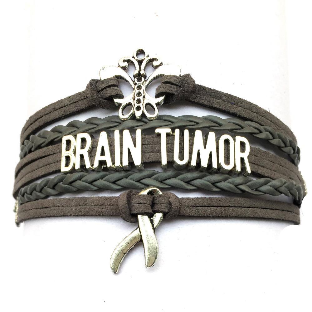 Envío Directo de cuero gris cinta trenzada cerebro tumoral pulsera concientización encanto regalo para lucha contra el cáncer