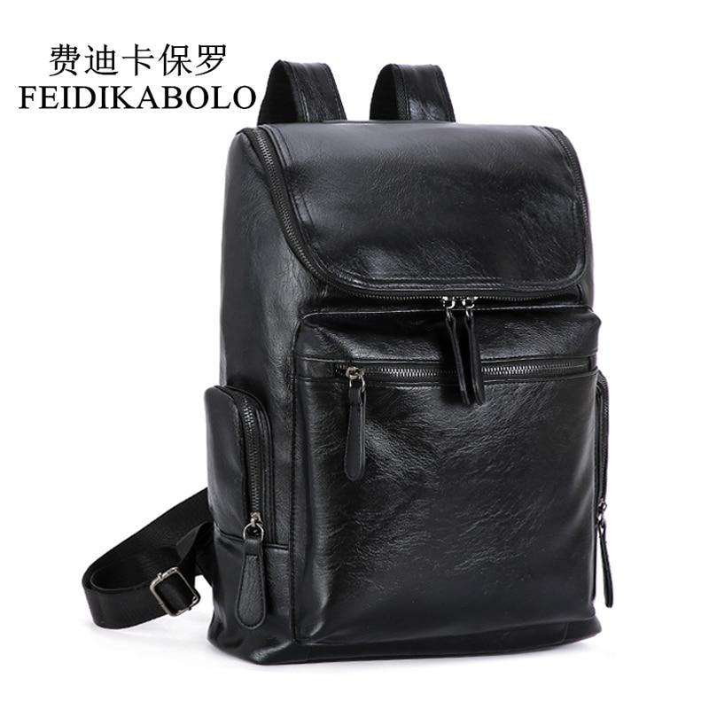 Mochila FEIDIKABOLO para hombres, mochila impermeable para ordenador portátil, bolso de viaje de cuero PU, bolso escolar informal, mochila de cuero para adolescentes, mochila para hombre