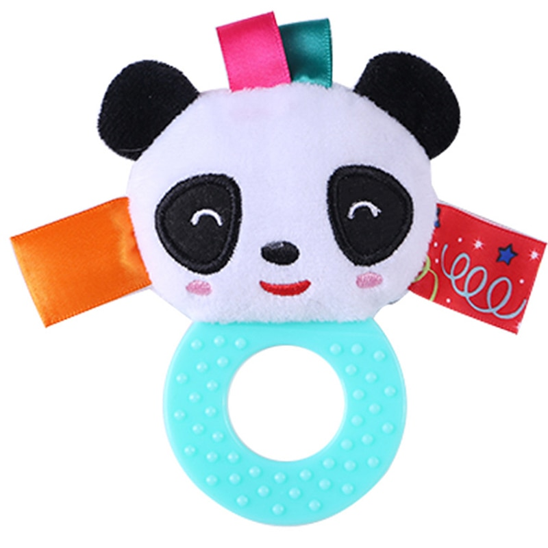 Juguetes de animales de dibujos animados para niños, mordedor de silicona para agarrar a mano, muñeco sonajero de goma BB 0-12 meses, juguetes educativos de peluche de felpa