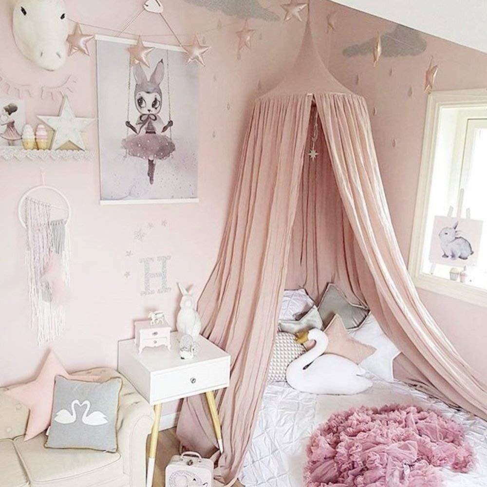 Kinder Krippe Baby Bett Baldachin INS Runde Dome Hängen Volant Kinder Spielen Zelt Moskito Net Vorhang Zimmer Decor Weiß Grau rosa Blau