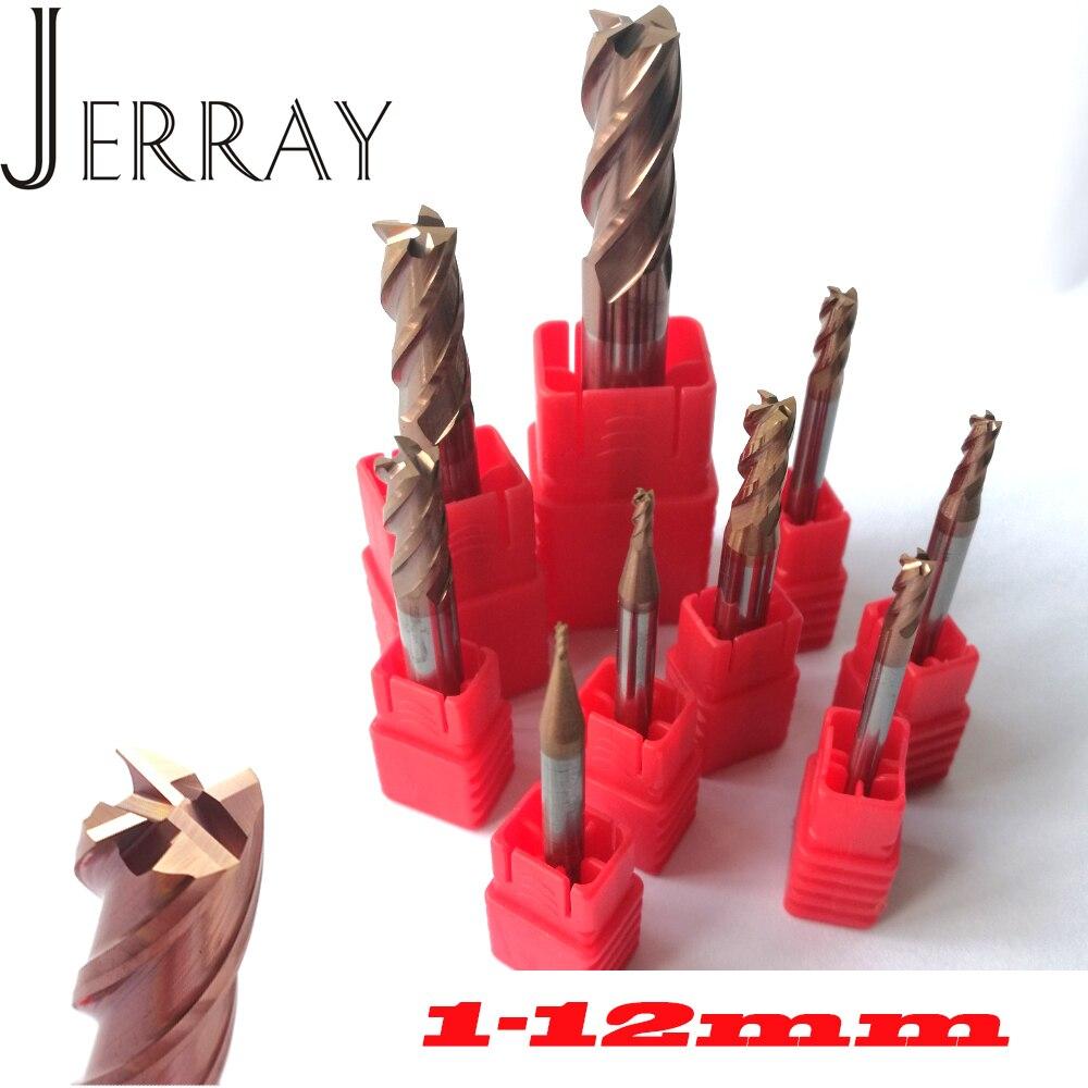 Brocas de fresa CNC de 1mm, 2mm, 3mm, 4mm, 5mm, 6mm, 8mm, 10mm, 12mm, 4 flautas HRC55, brocas de extremo plano cuadrado de carburo de tungsteno