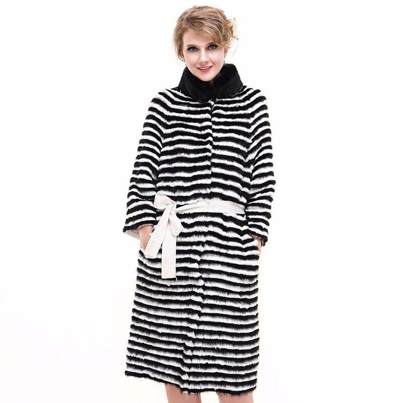 جاكيت نسائي من فرو المنك الأصلي ، معطف فاخر ، دافئ ، طويل X ، ملابس خارجية ، خريف وشتاء ، VF7059
