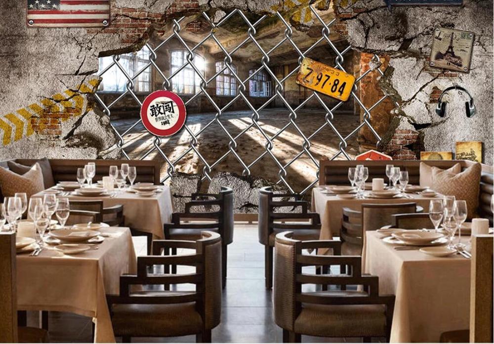 خلفية مخصصة جدارية الرجعية ثلاثي الأبعاد الصناعية الرياح المهجورة مصنع مطعم بار حائط الخلفية