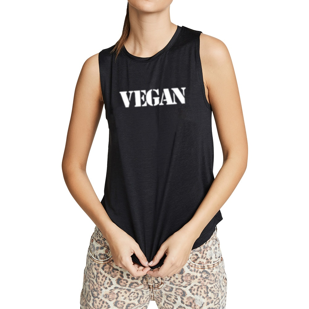 Mujeres vegetarianas Vegan Fitness entrenamiento Casual chaleco Sleveless Tops camisetas