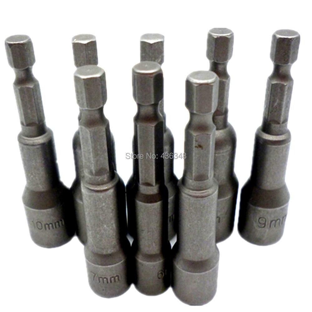 8 unidades, toma magnética, tuerca de destornillador, 1/4 vástago hexagonal, tuerca de casquillo de alimentación, Setters, destornillador de 6-13mm, destornillador, tuercas, adaptador de enchufe, broca de taladro
