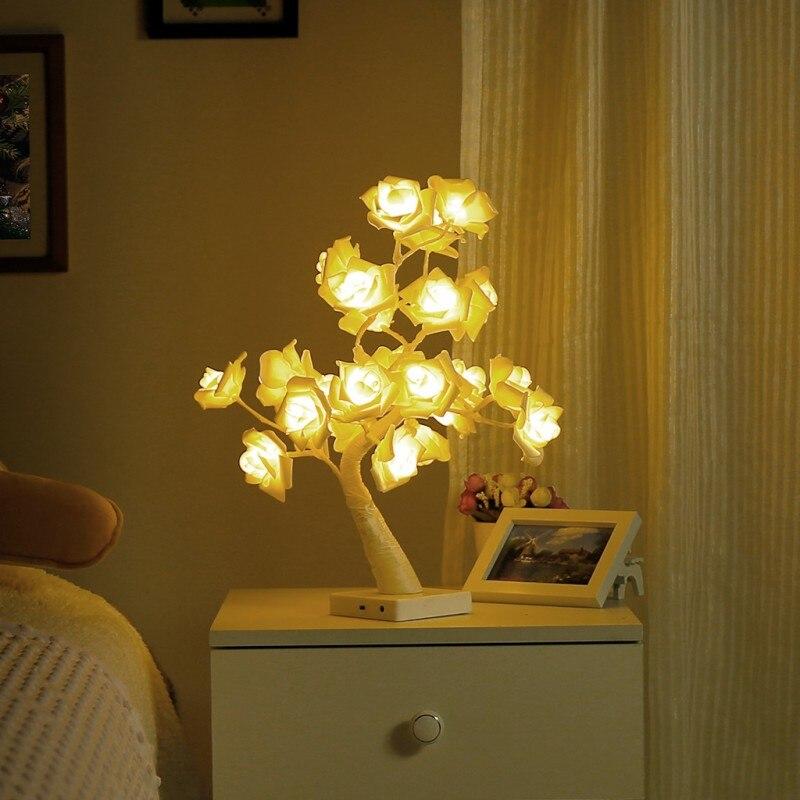 Batería o USB Power Bola de algodón rosa árbol LED noche luz Festival Fiesta romántica boda decoración del hogar lámpara de mesa regalo creativo