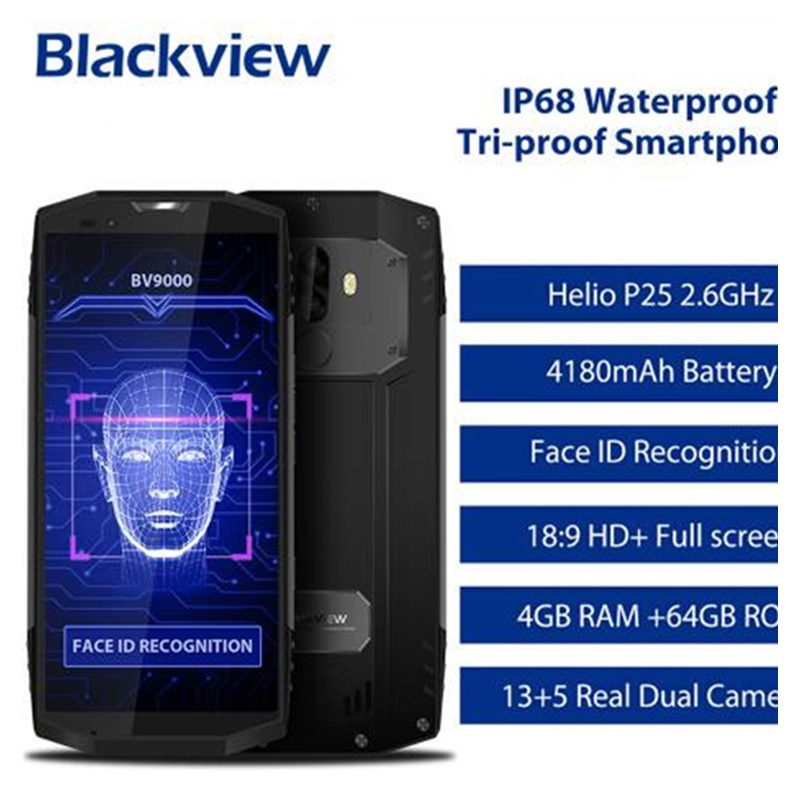 In Stock! Blackview BV9000 IP68 Waterproof 4G LTE Phone MTK6757 Octa Core Android 7.1 4GB+64GB With NFC OTG Mobile Cell Phone