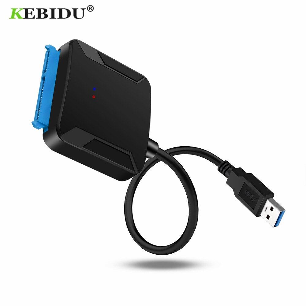 Kebidu sata usb3.0 adaptador cabo conversor 22 pinos usb 3.0 para sata cabo para 2.5 polegada 3.5 hdd ssd disco rígido