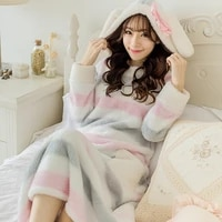 autumn and winter lengthen thick coral fleece robe womens bathrobes lovely nightgown princess sleepwear lounge