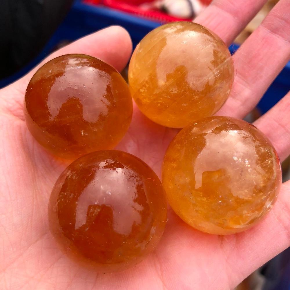4 Uds naranja natural piedra calcita esfera de cristal citrino Islandia Bola de piedra preciosa de cristal de meditación reiki red