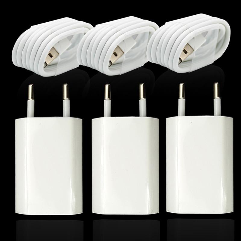 3 juegos/lote cargador USB de pared con enchufe europeo para iPhone 8 Pin Cable de carga USB + adaptador de cargador de viaje para Apple iPhone 5 5S 6 6S 7
