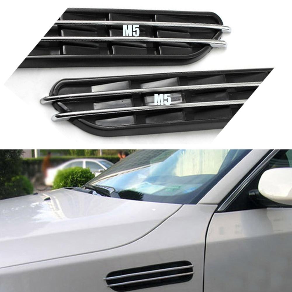 Air Flow Fender Shark Gills Side Vents Decorative Sticker Hole Grille For BMW E60 E61 E39 E34 M3 E46 M5 2pcs