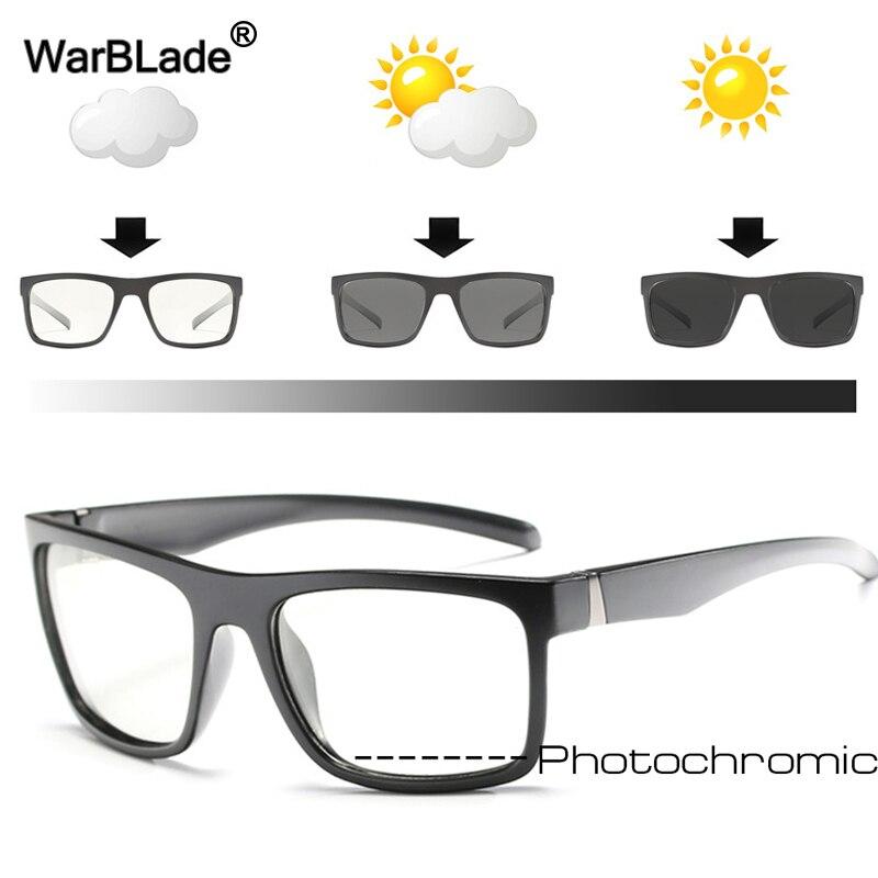 WarBLade 2018 nuevo gafas de sol polarizadas fotocromáticas hombres camaleón decoloración gafas de sol para conducir, para pescar cuadrado gafas de sol