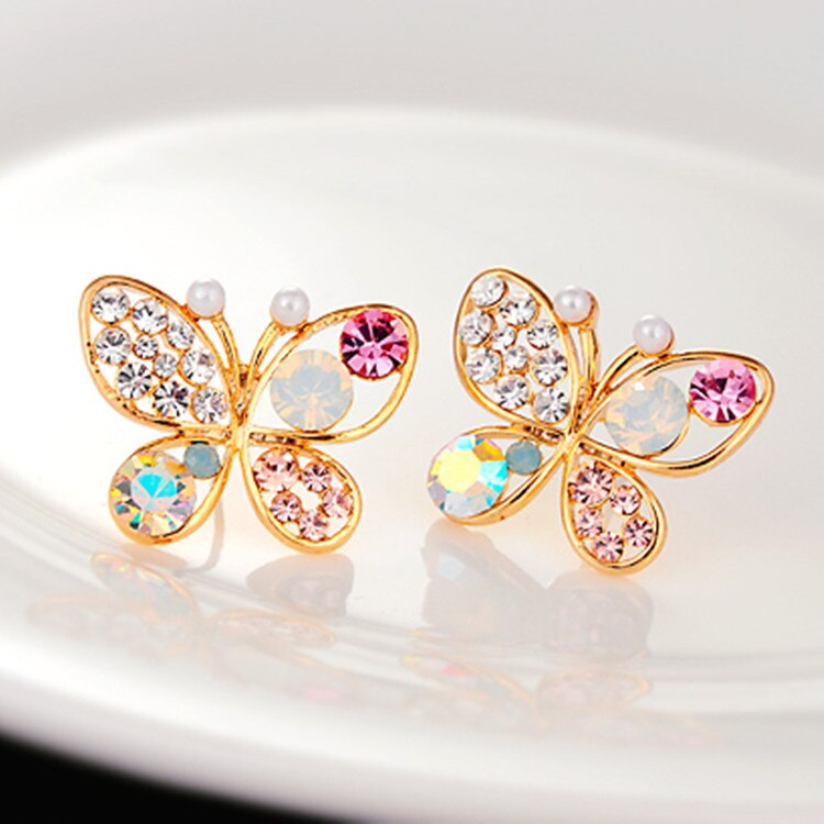 Coréen femmes bijoux perle papillon creux coloré cristal boucles doreilles boucles doreilles nouvelles boucles doreilles en gros livraison directe