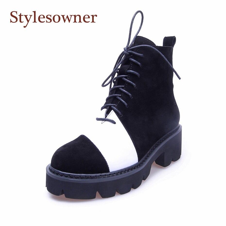 Stylesowner botines De Mujer Zapatos De Mujer negro blanco vaca ante cuero auténtico Martin botas De fondo plano Cool Bootie