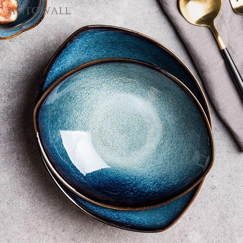 ANTOWALL Blue Feng Eye Kiln Glaze Ceramic  Tableware Dish Plate Plum Bowl Rice Noodle Soup Bowl Porcelain Dinnerware Set