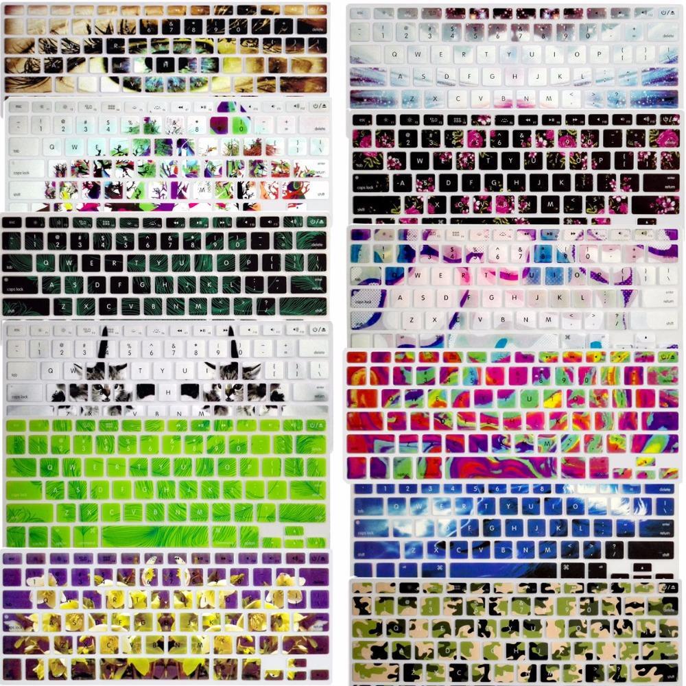 ¡Novedad! calcomanía de flor 3D funda de silicona para teclado de EE. UU. Protector de piel para Apple Mac Macbook Pro 13 15 17 Air 13 Retina 13