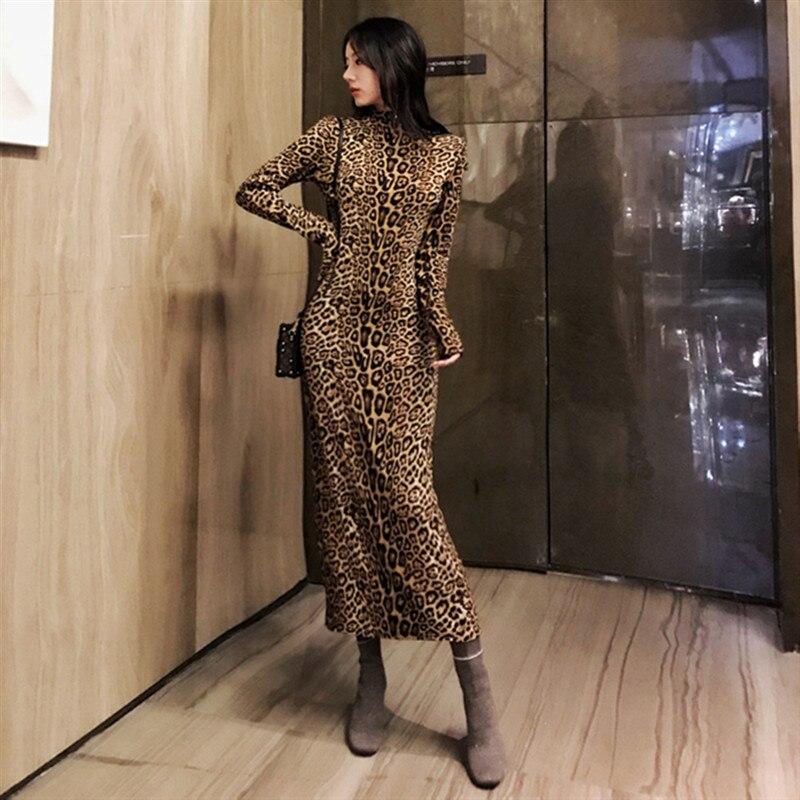 Vestido largo de cuello alto con estampado de leopardo de cristal para mujer vestido ajustado con correa de Navidad invierno vestido elegante maxi vestido vintage de fiesta