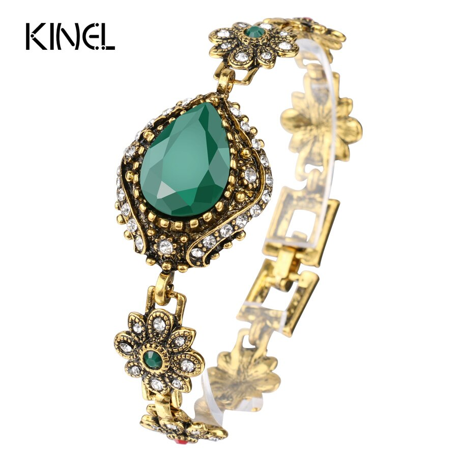 Kinel Vintage bijoux mode vert Bracelet manchette Bracelet pour femmes antique couleur or Unique bohème Bracelets cristal cadeaux