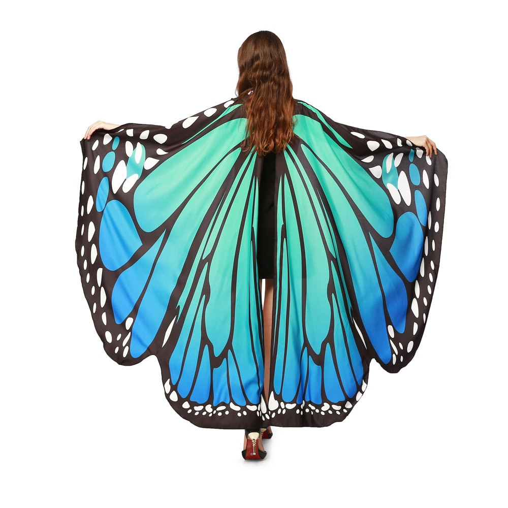 2019 nuevo chal mujer señora mariposa larga capa suave bufanda chal disfraz de Ninfa mariposa alas chal foulard