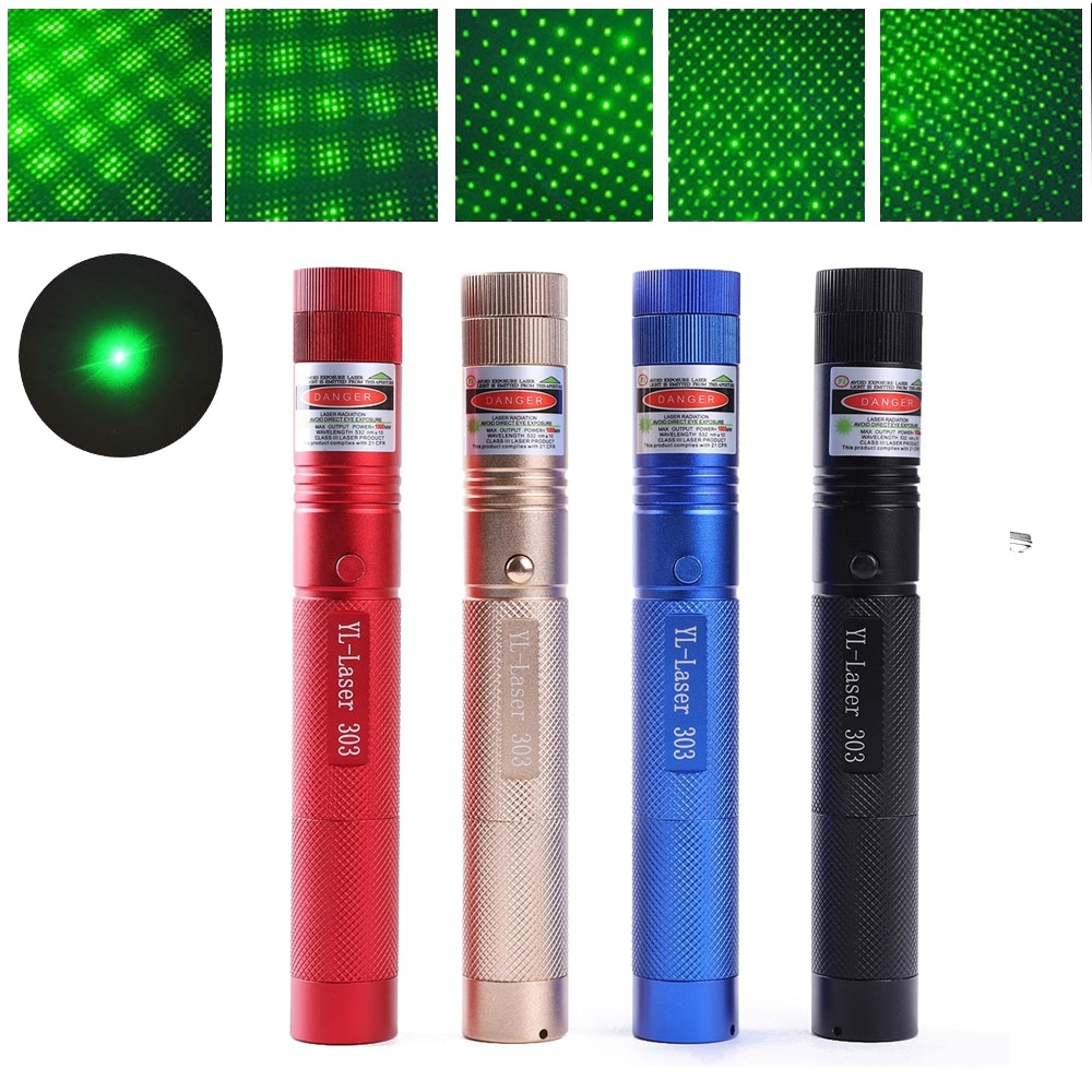 Potente lápiz puntero láser verde con enfoque Zoomable ajustable 303 532nm línea continua de 500 a 10000 metros rango láser