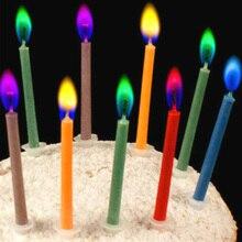Bougies à gâteau de mariage 12 pièces/paquet   Fournitures pour fête danniversaire, décoration de Dessert sans flammes, bougie multicolore colorée