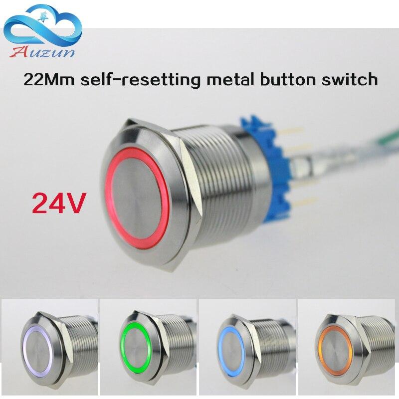 2 unidades 22 mmdesde el botón de reinicio con interruptor de luz voltaje 24v corriente 5A250VDC impermeable rojo óxido, amarillo azul blanco