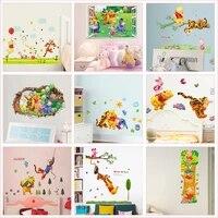 Autocollants muraux Winnie lourson  dessin anime  ours  tigre  Animal  pour chambre denfants  maternelle  decoration de maison  fresque de fenetre en 3d  Diy bricolage