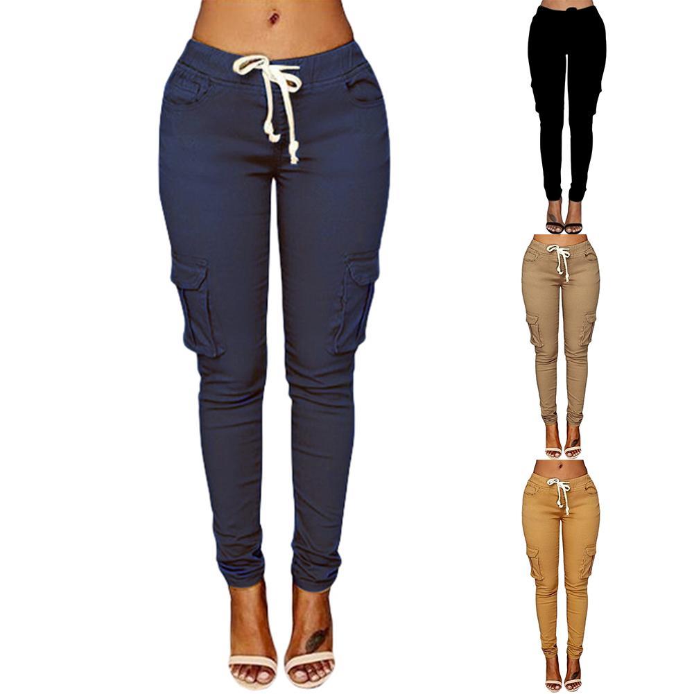 pants woman high waist pants Solid Skinny Cargo Pants Pockets Drawstring Joggers Trousers Summer Leg