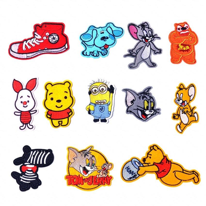 Bordado remendo adesivos para crianças dos desenhos animados pano adesivos pequeno gato mouse bordado thermo-adesivo vestuário adesivos