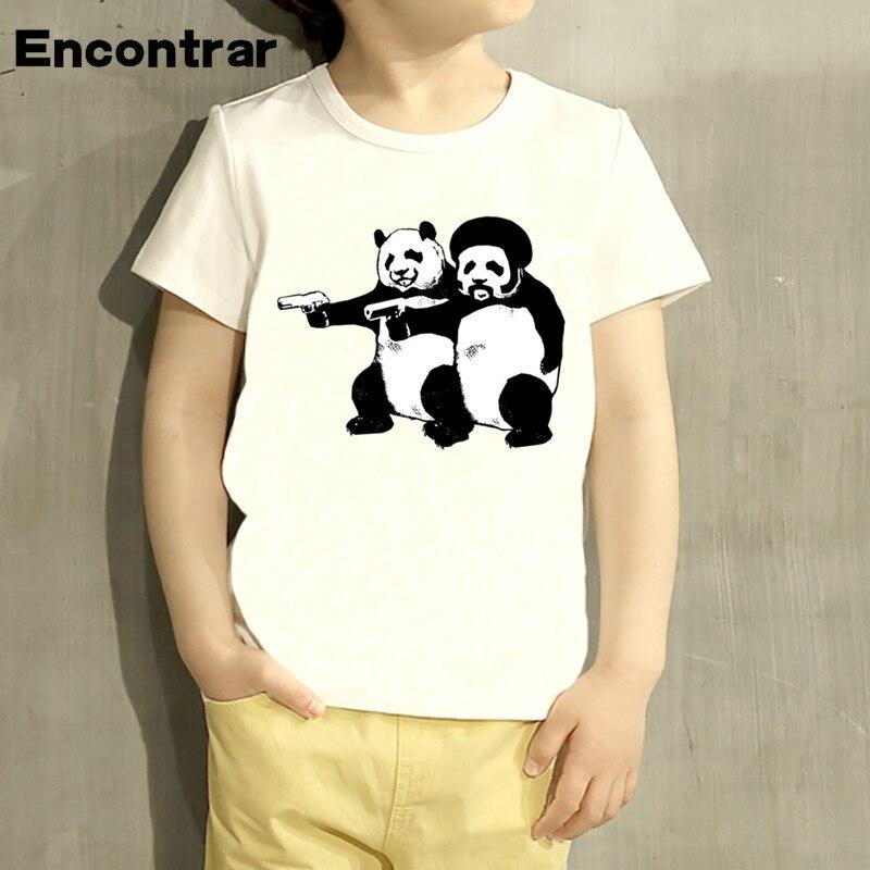 Crianças polpa pandas projetar t camisa meninos/meninas grandes casual manga curta topos crianças bonito camiseta, hkp5001
