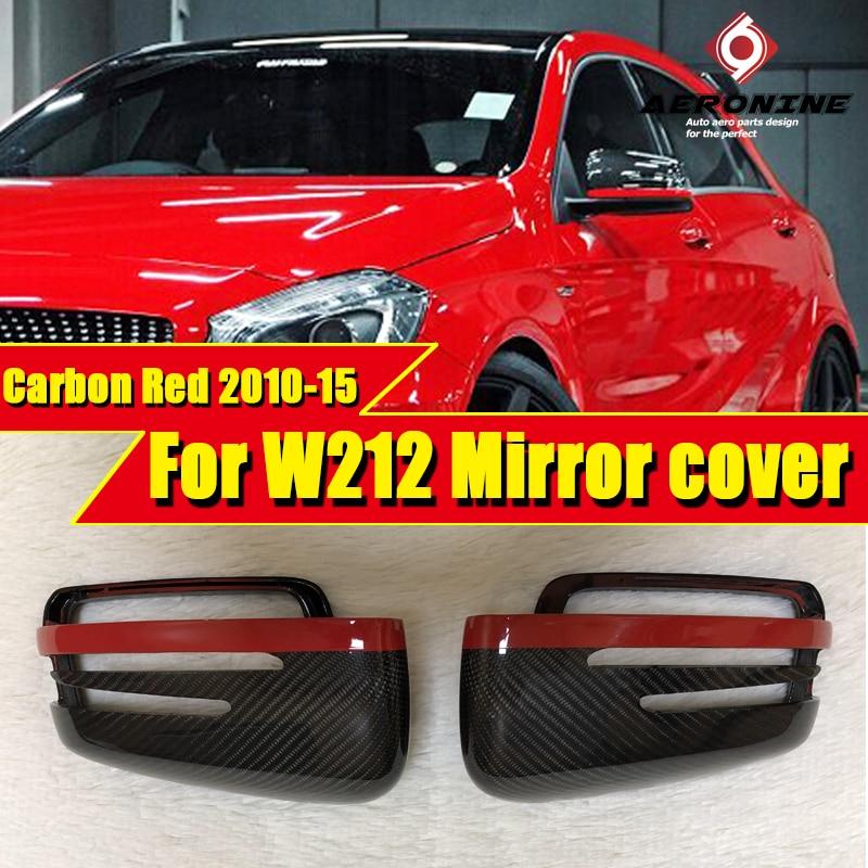 2PCS Carbon fiber Red Rear Mirror Fits For Mercedes Benz W212 E-Class  E200 E250 Rear View Mirror Cover 1:1 Replacement 2010-15