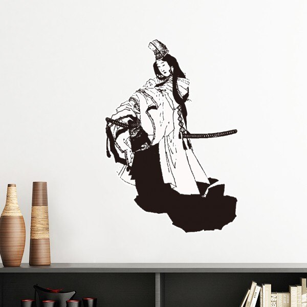 Japón Cultura Tradicional negro samurái Sword Line dibujo estilo japonés pegatina de pared arte calcomanías Mural papel pintado para la habitación calcomanía