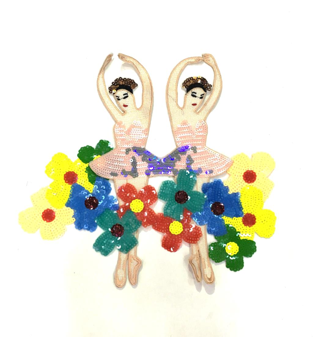 Parche de lentejuelas de Ballet de dibujos animados, apliques de tela bordados...