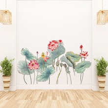 Chinese stijl Lotus lotusblad Muursticker TV sofa woonkamer achtergrond behang Muurschilderingen Decals stickers