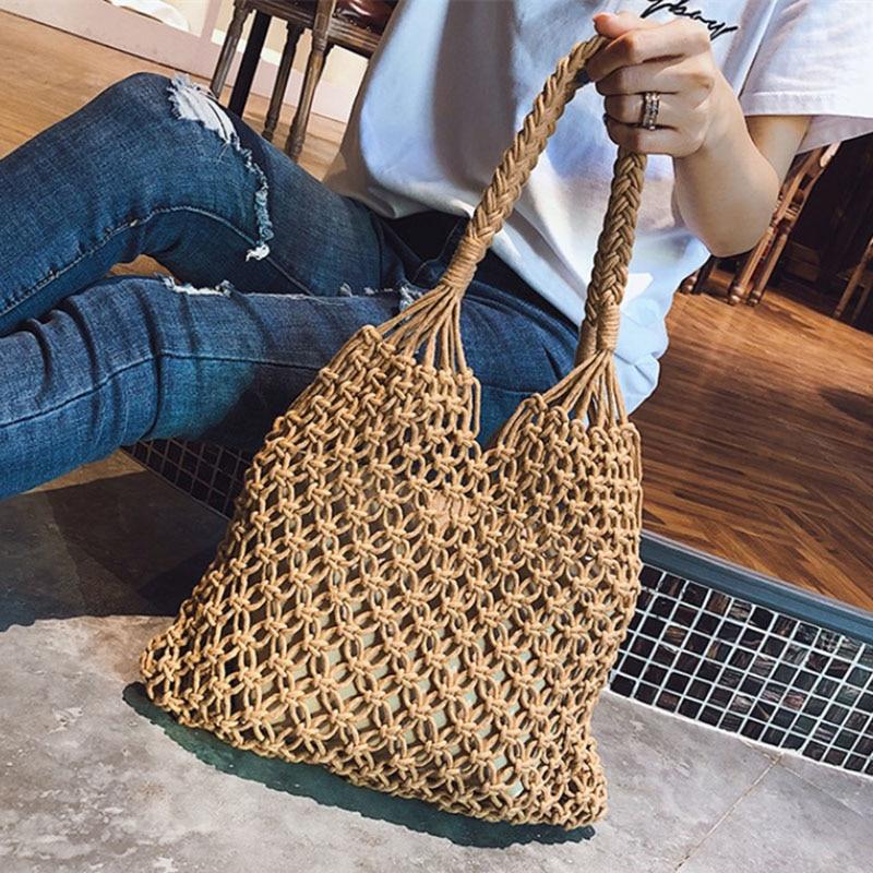 ETAILL, bolsos de calidad con asa de paja de ganchillo para mujer, verano 2018, moda Bohemia, hecha a mano, tejido de playa, bandolera de mimbre