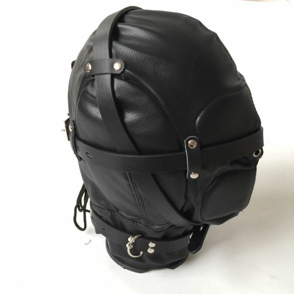 غطاء رأس من الجلد الأسود المرن مع سحاب ، عبودية BDSM ، عبودية ، رأس خنزير ، لعبة جنسية